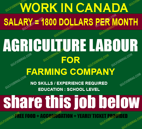 Agriculture workers required for Canada | Urgent demands