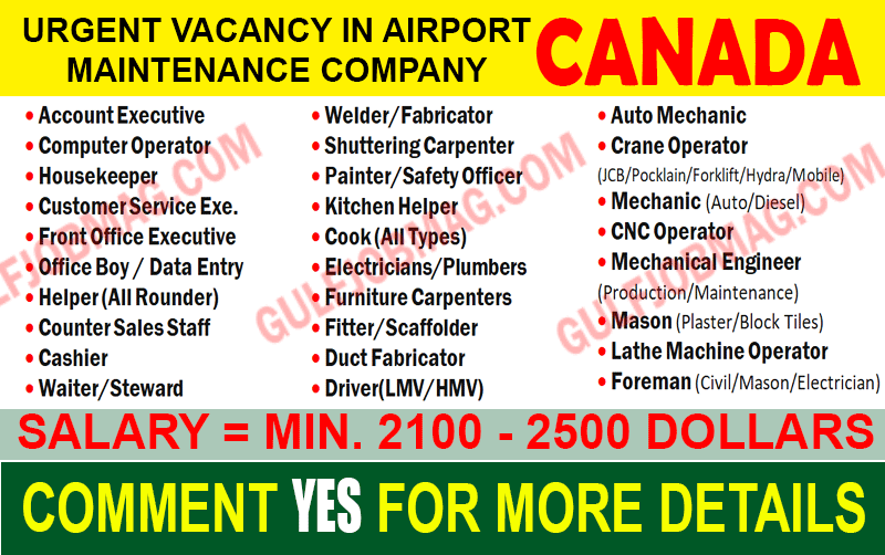 airport maintenance job in canada  apply now  free recruitment