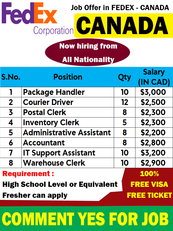 FED-EX is hiring for CANADA - Gulf Job Mag