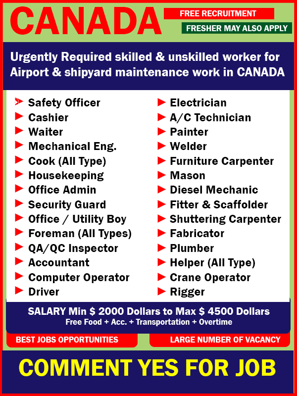 Job Opportunity in CANADA - Gulf Job Mag